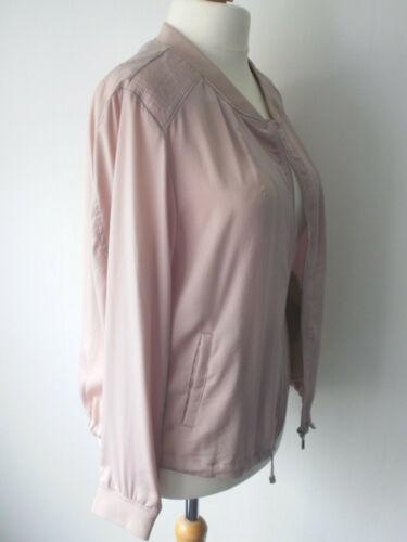 Lightweight Blush Pink Blouson Style Zip Up Bomber Jacket