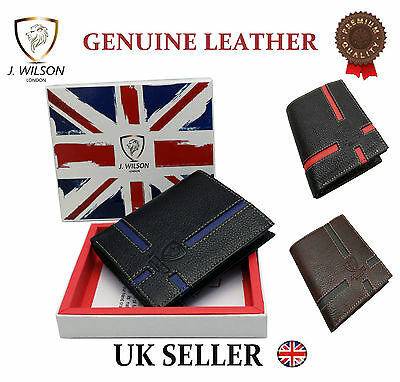 Designer J Wilson Real Genuine Mens Quality Leather Wallet Card Coin Id Gift Box