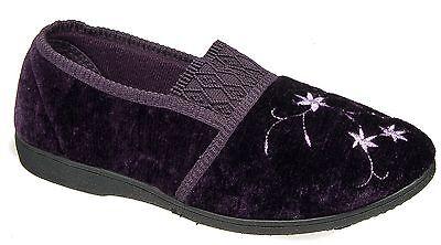 Mujer señoras del Resbalón en Zapatillas/Terciopelo púrpura bordado Zedzzz 3 4 5 6 7 8