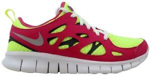 NEW-Girls-Nike-Free-Run2-039-Volt-Ice-039-Vivid-Pink-Size-3-5-Youth-477701-700
