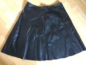Détails sur H&M Jupe évasée en simili noir Taille 38