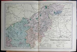 1896-LARGE-VICTORIAN-MAP-NORTHAMPTONSHIRE-NORTH-PARLIAMENTARY-DIVISIONS