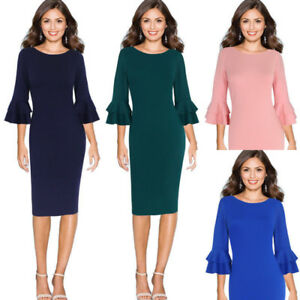 Womens Fall Elegant 3/4 Flare Bell Sleeve Work Office Party Bodycon Sheath Dress