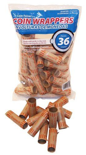 The Coin-Tainer Co. Preformed Coin Wrappers, Quarters 36 Count Bag (60255-68799)