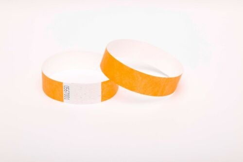 "250 Plain Neon Orange 3//4/"" Tyvek Paper Wristbands for Events,Festivals,Parties"