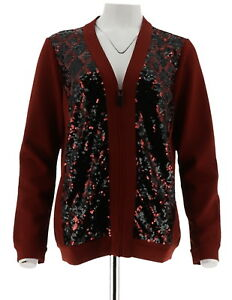 Bob-Mackie-Womens-V-Neck-Zipper-Front-Sequin-Scuba-Jacket-Russet-S-NEW-A271127