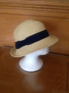 9f8b11c3 Image is loading BNWT-ACCESSORIZE-STRAW-HAT-NAVY-RIBBON-RRP-16-