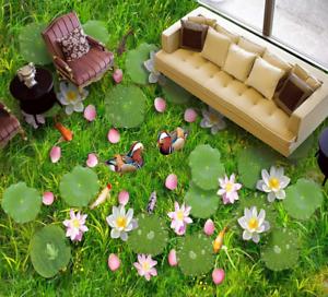 3D Lotus Pato hierba Papel Pintado Mural Parojo Impresión de suelo 5 5D AJ Wallpaper Reino Unido Limón