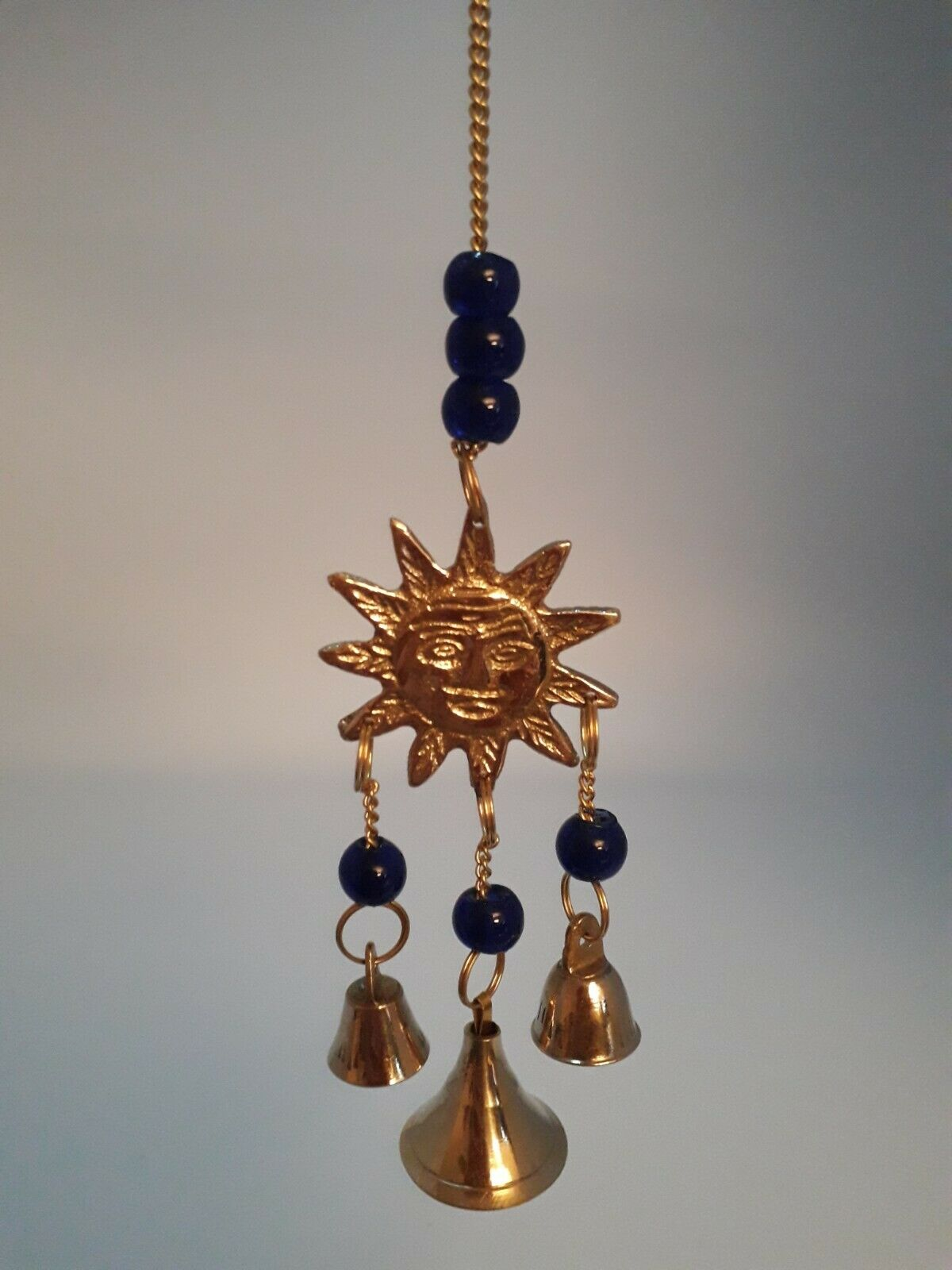 Brass Chime Mini Sun With 3 Bells & Blue Glass Beads