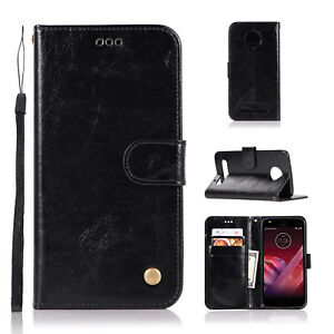 on sale ce60b 46849 Details about For Motorola Moto Z play Z2 Play PU Leather Case Wallet w/  Card Slots Flip Cover