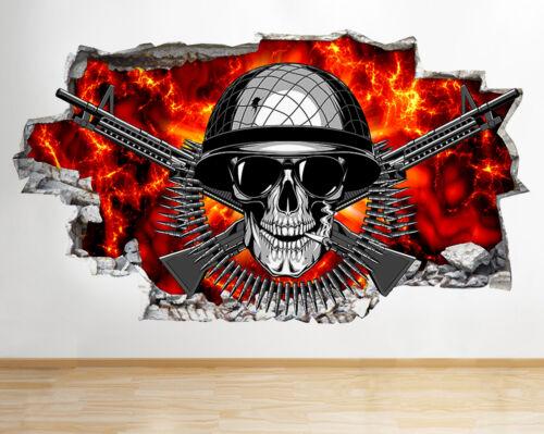 R369 Armée crâne feu Cool chambre Smashed Applique Murale 3D Art Stickers Vinyl Chambre