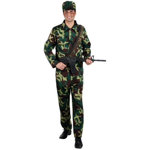 Adult ARMY SOLDIER MAN Camouflage Forces War Fancy Dress Costume Mens Stag Party