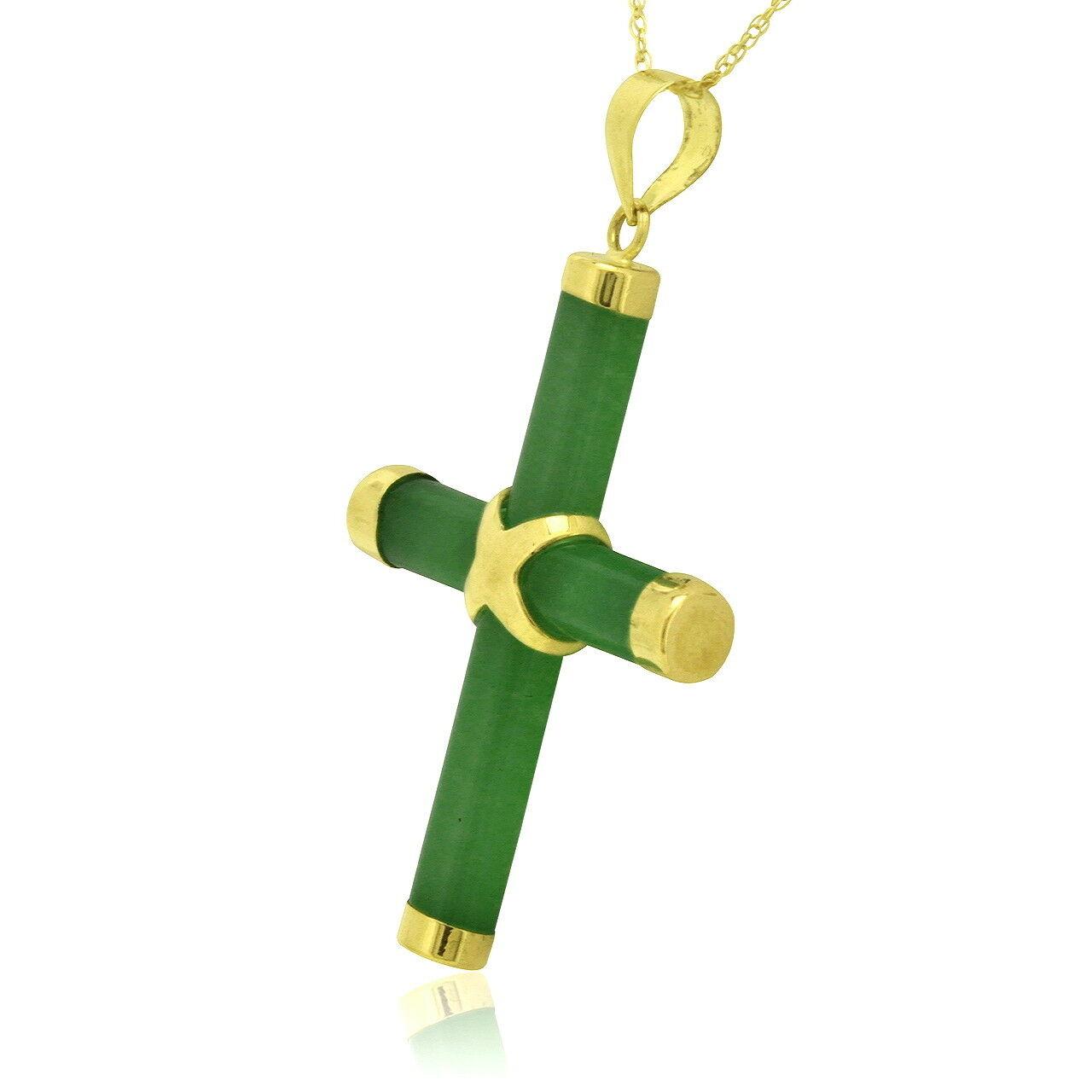 14K Yellow gold Jade Cross Charm