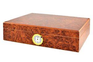 ANGELO-Humidor-034-Wurzelholz-034-fuer-20-30-Zigarren-mit-Befeuchter-Hygrometer