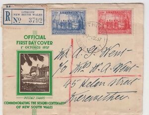 Postmark LITHGOW NSW on 2d & 3d sesquicentenary of NSW official FDC registered