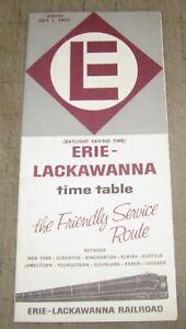 1962 ERIE-LACKAWANNA RAILROAD RR Time Table Brochure, The Friendly Service Route