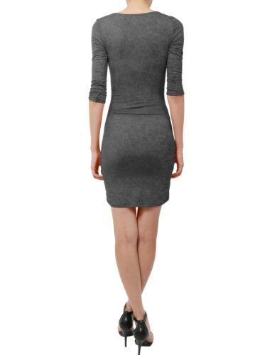NE People Women Elbow Sleeve Slim Fit Above Knee Overlap Drape Dress NEWDR27
