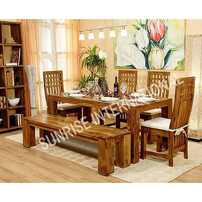 Stylish Wooden Dining table with 4 chairs & 1 bench set