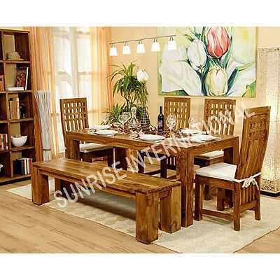 Stylish Wooden Dining Table With 4 Chairs & 1 Bench Set !