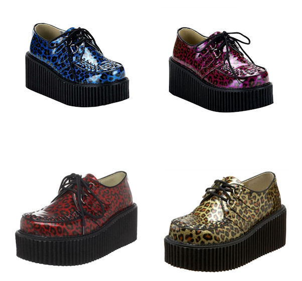 DEMONIA Cheetah Glitter Goth Punk scarpe Creeper-208