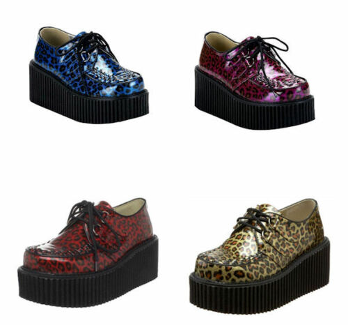 Creeper 208 Cheetah Chaussures Demonia Glitter Punk Goth 5Rj3qL4A