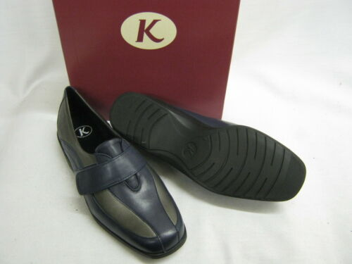 K SHOES RIPTAPE STRAP SMART SCHOOL SHOES GEORGIA LILLY NAVY LEATHER