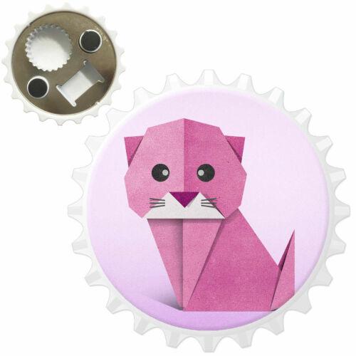 Origami Big Eye Cute Pink Cat Bottle Opener Fridge Magnet