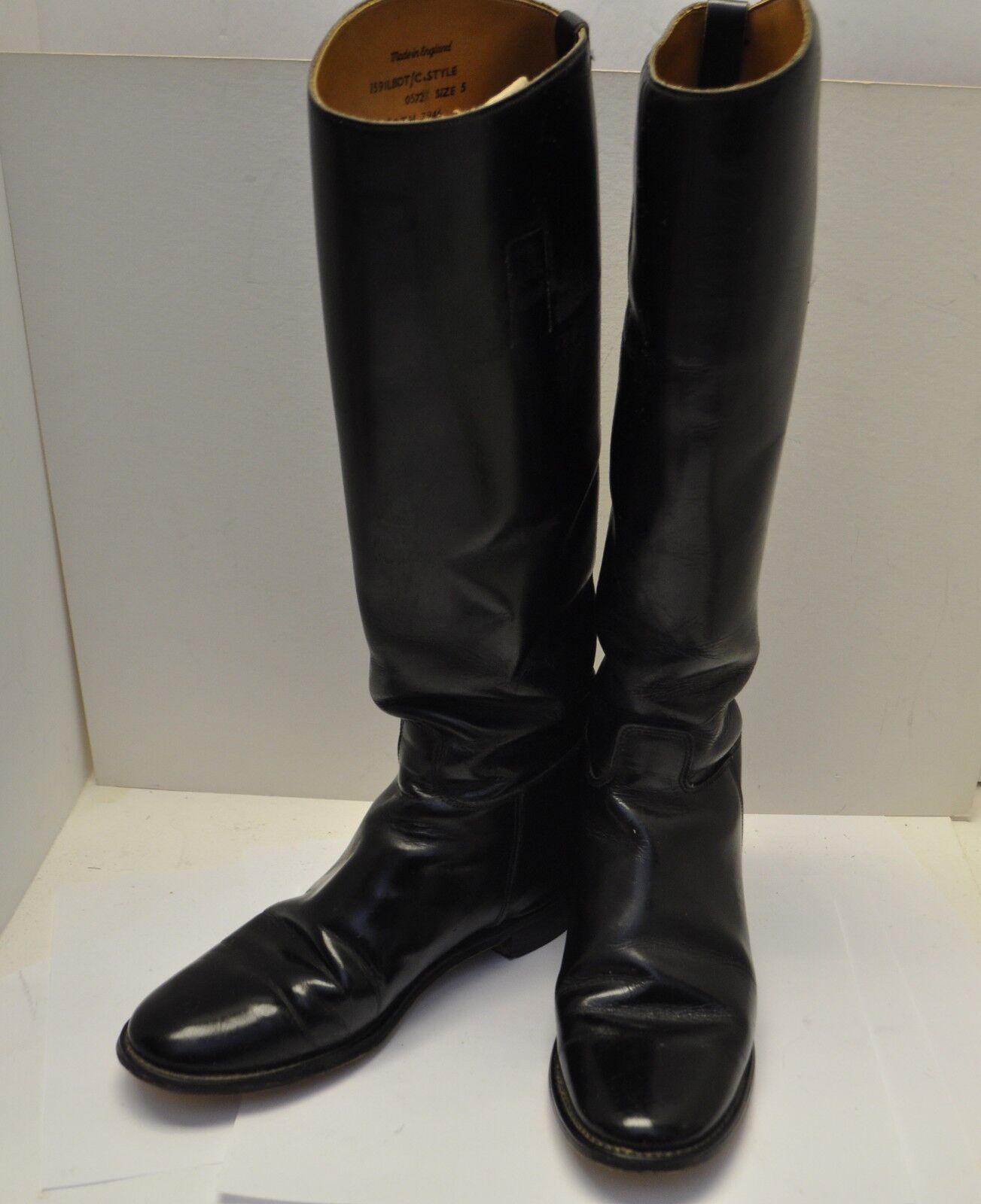 Vintage MARLBOROUGH Black Leather English Riding Boots Women's 5 US
