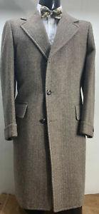 New-Mens-Brown-Wool-Tweed-Herringbone-Overcoat-Great-Coat-Heavy-Winters