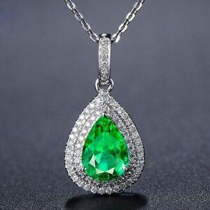 Elegant-Damen-925-Silber-Halskette-Wassertropfen-Smaragd-Edelstein-Anhaenger-Neu