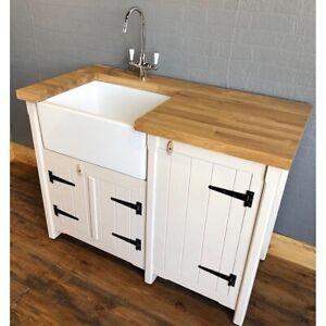 Pine Freestanding Kitchen Utility Room Belfast Butler Sink Unit Oak Worktop Ebay