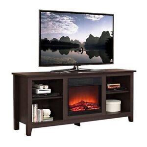 Walker Edison W58fp18es Fireplace Tv Stand Espresso 58 Ebay