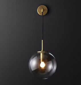 on sale d5d01 89608 Details about Industrial Hanging Wall Sconce Single Suspender Wall Light  Globe Glass Shade