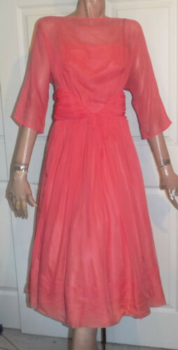 Vintage 50s Coral Pink Chiffon Party Dress B34