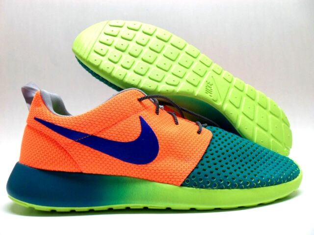 newest collection 5e706 c92b8 NIKE ROSHE RUN ID GREEN TOTAL ORANGE-INK BLUE-GREY SIZE MEN S 11.5