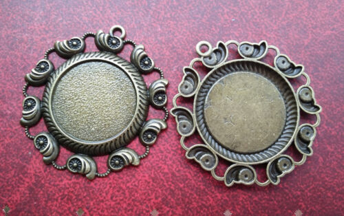 20pcs Round Antique Bronze Cameo setting Blank Tray Necklace Pendant 25*25mm N09