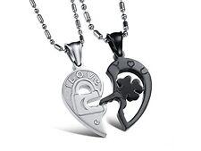 GirlZ! Valentine special Titanium Heart Couple Pendant Necklace with chains