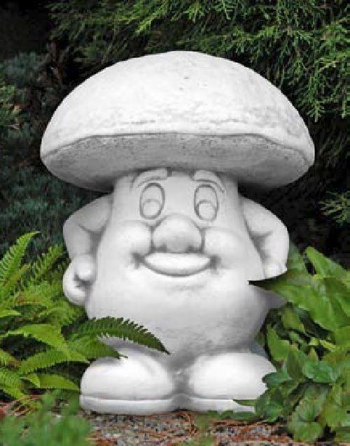 Pilzmännchen grinsend Pilz Gartenfigur Skulptur Statue Dekoration Steinguss 32cm