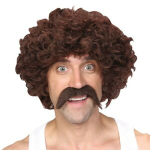 118 118 Wig  /& Tash 1960s 1970s Moustache Retro Fancy Dress Accessory New