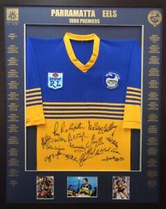 Blazed-In-Glory-1986-Parramatta-Eels-Premiers-NRL-Signed-amp-Framed-Jersey