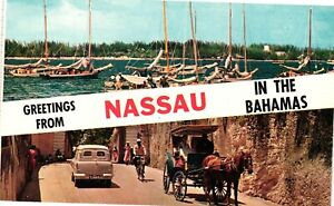 Vintage Postcard - Greetings From Nassau In The Bahamas Un-Posted #4607