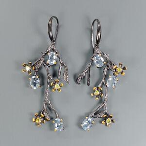 Wedding-Engagement-Natural-Blue-Topaz-925-Sterling-Silver-Earrings-E28857