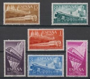 SPAIN-1958-MNH-COMPLETE-SET-SC-SCOTT-887-92-RAILROAD-TRAINS
