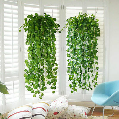 Green Artificial Plastic Ivy Leaf Garland Plants Vine Foliage Flowers Home Decor