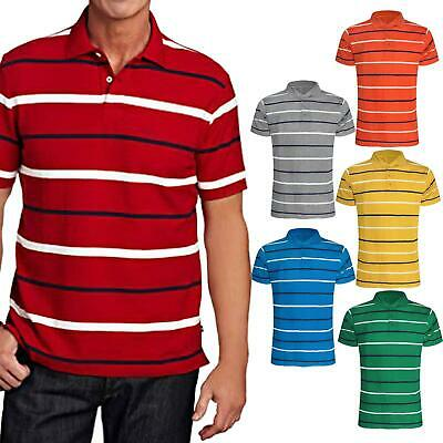 NEW MENS STRIPED POLO SHIRTS PIQUE COLLARED T-SHIRT SHORT SLEEVES SUMMER TEE TOP
