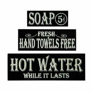 Details About Retro Bathroom Decor Hot Water Hand Towels Soap Bathroom Wall Art Wood Block