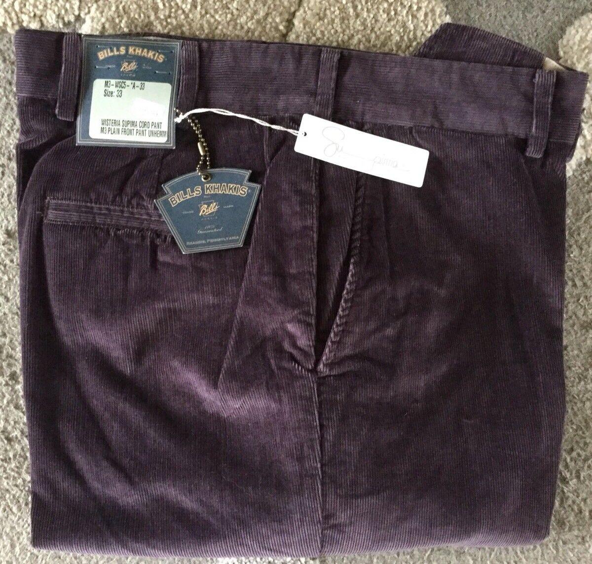BRAND NEW-Bills khakis M3-WSC5 Size 33 SUPIMA CORDUROY WISTERIA MSRP