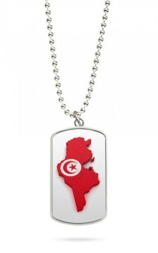 Kette Dog Tag Anhänger Tunesien Fahne