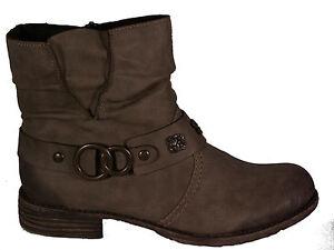 Details zu RIEKER Schuhe Stiefeletten Western Style beige Reißverschluss Fleecefutter NEU
