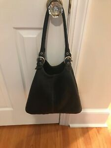 2266329598 KENNETH COLE no slouch pebble leather hobo bag black medium size